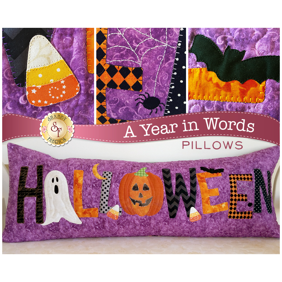 Pattern for October A Year In Words pillow reading Halloween with spooky motifs on purple fabric.