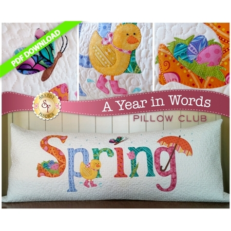 PDF Pattern for April A Year In Words pillow reading Spring with yellow chick on white fabric.