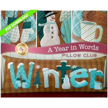 PDF Pattern for January A Year In Words pillow reading Winter with snowmen and mittens on brown.