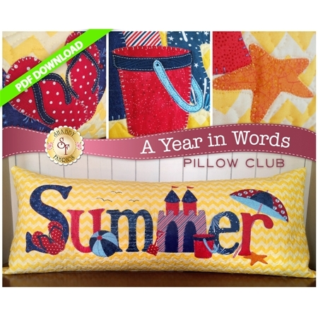 PDF Pattern for July A Year In Words pillow reading Summer with a sandcastle and yellow beach.