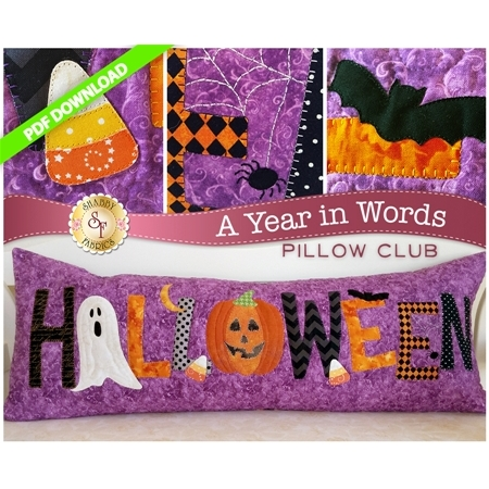 PDF Pattern for October A Year In Words pillow reading Halloween with spooky motifs on purple fabric.
