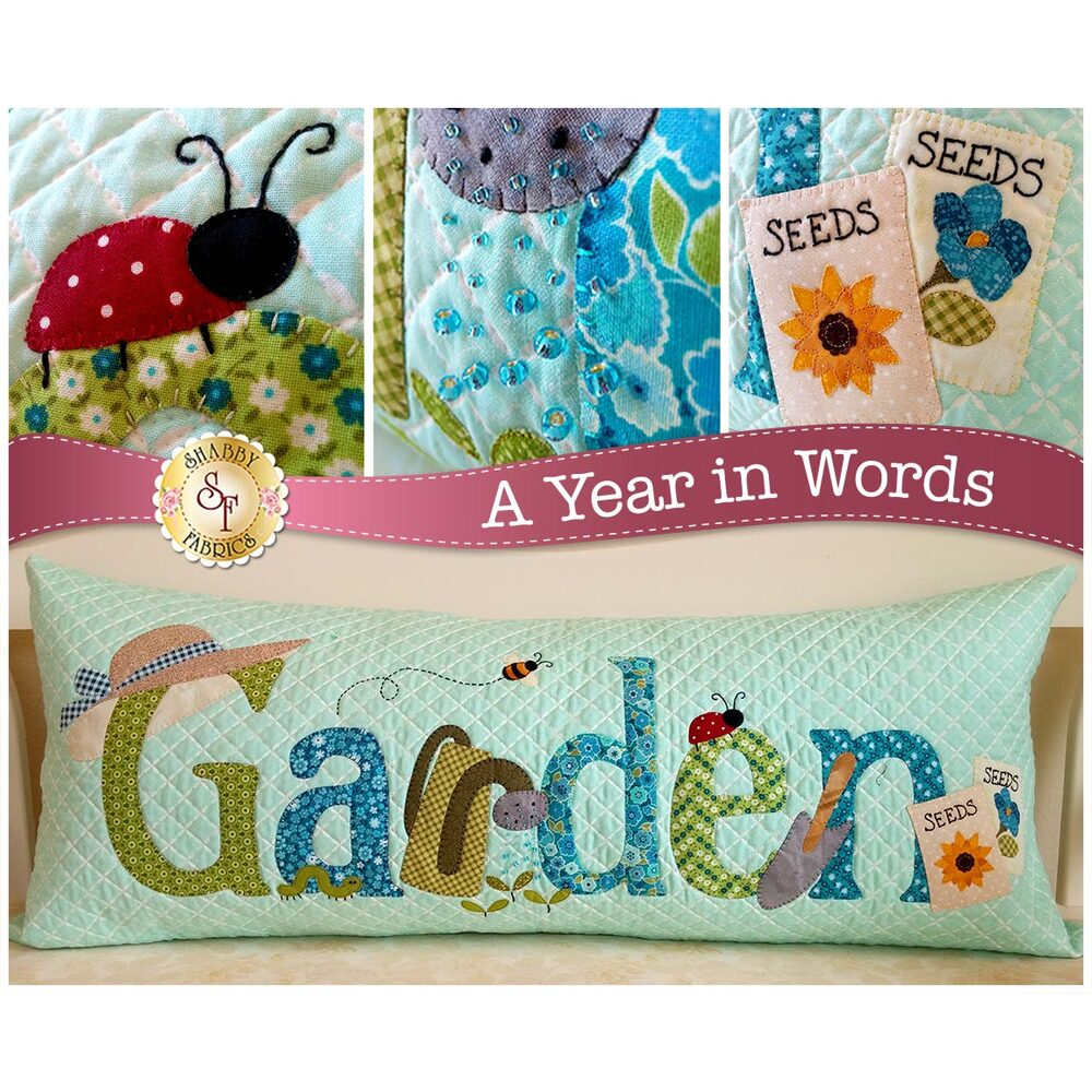 Kit for June A Year In Words pillow reading Garden with gardening tools on blue fabric.