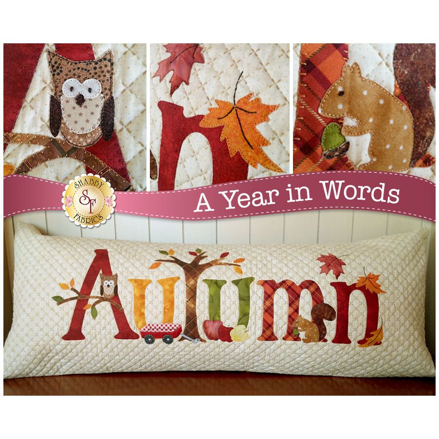Kit for September A Year In Words pillow reading Autumn with owl, squirrel, falling leaves.