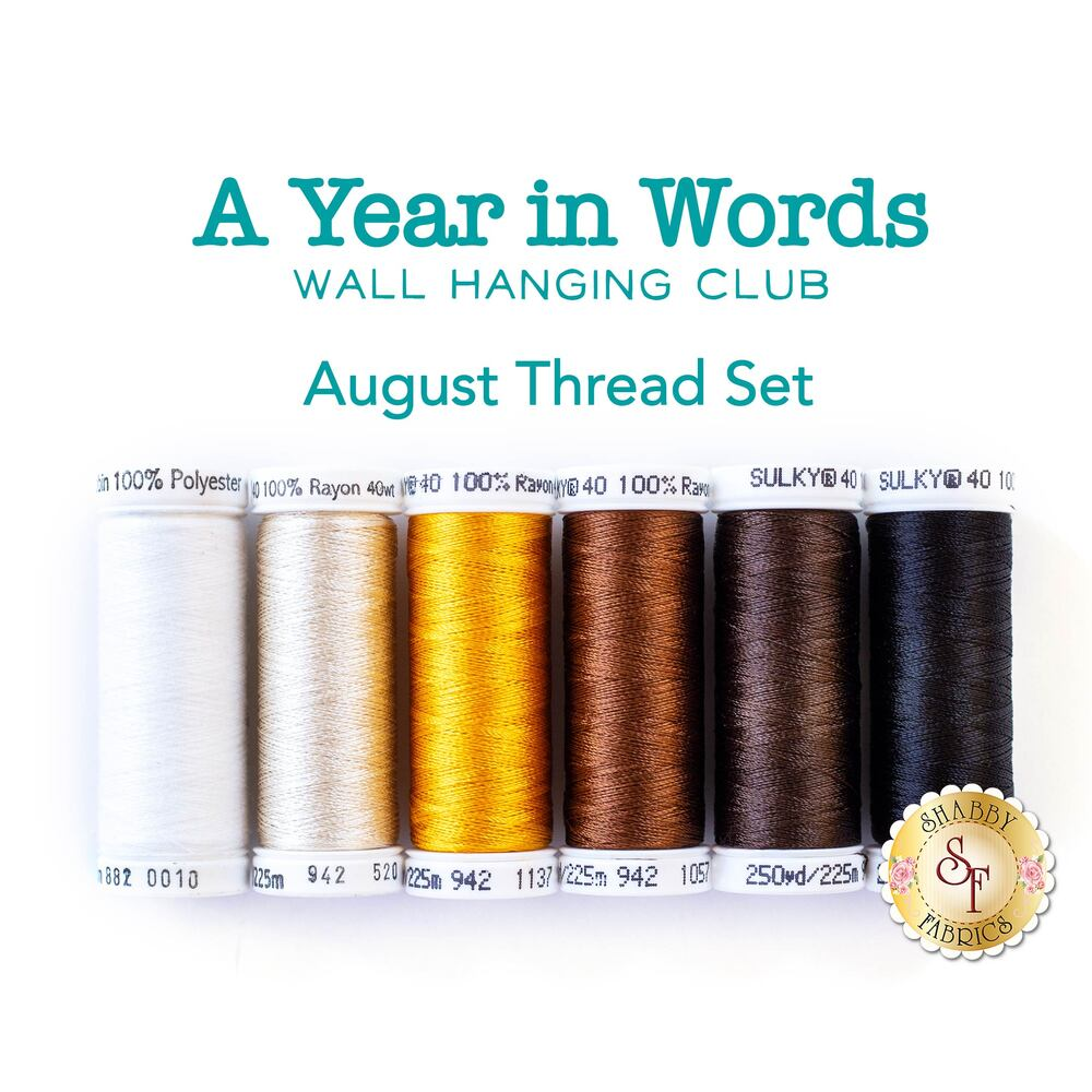 A Year In Words Wall Hanging Sunshine - August Thread Set - 6pc