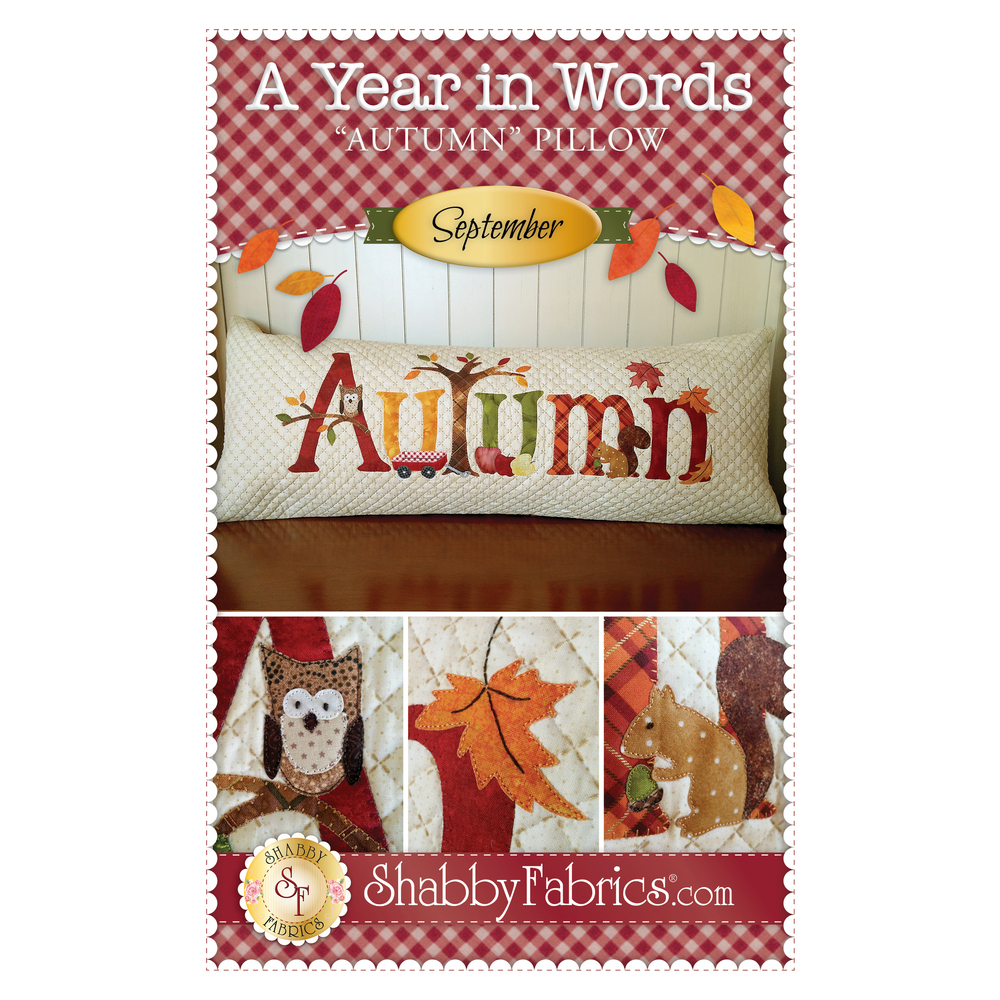 Pattern for September A Year In Words pillow reading Autumn with owl, squirrel, falling leaves.