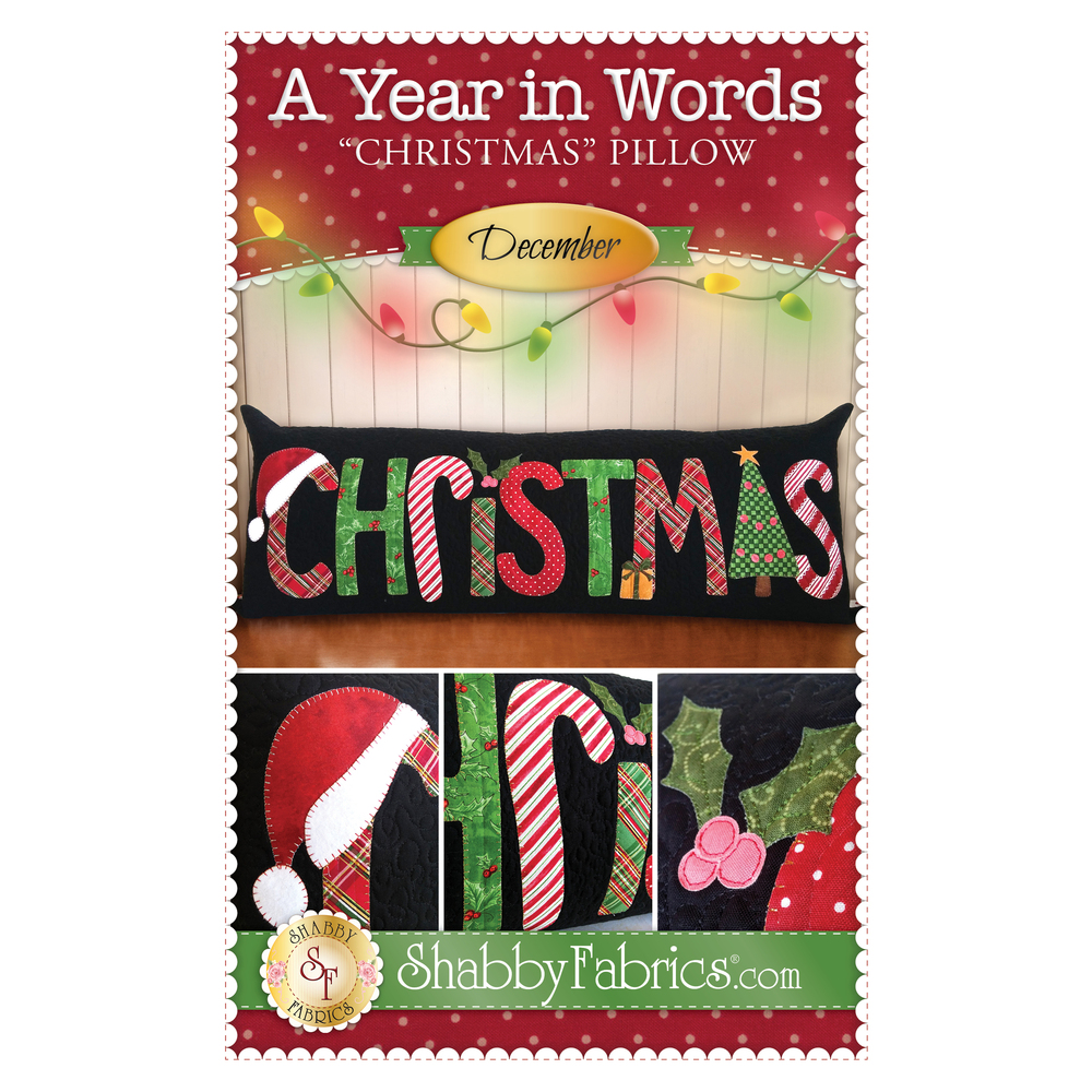 Pattern for December A Year In Words pillow reading Christmas with red and green plaid letters.