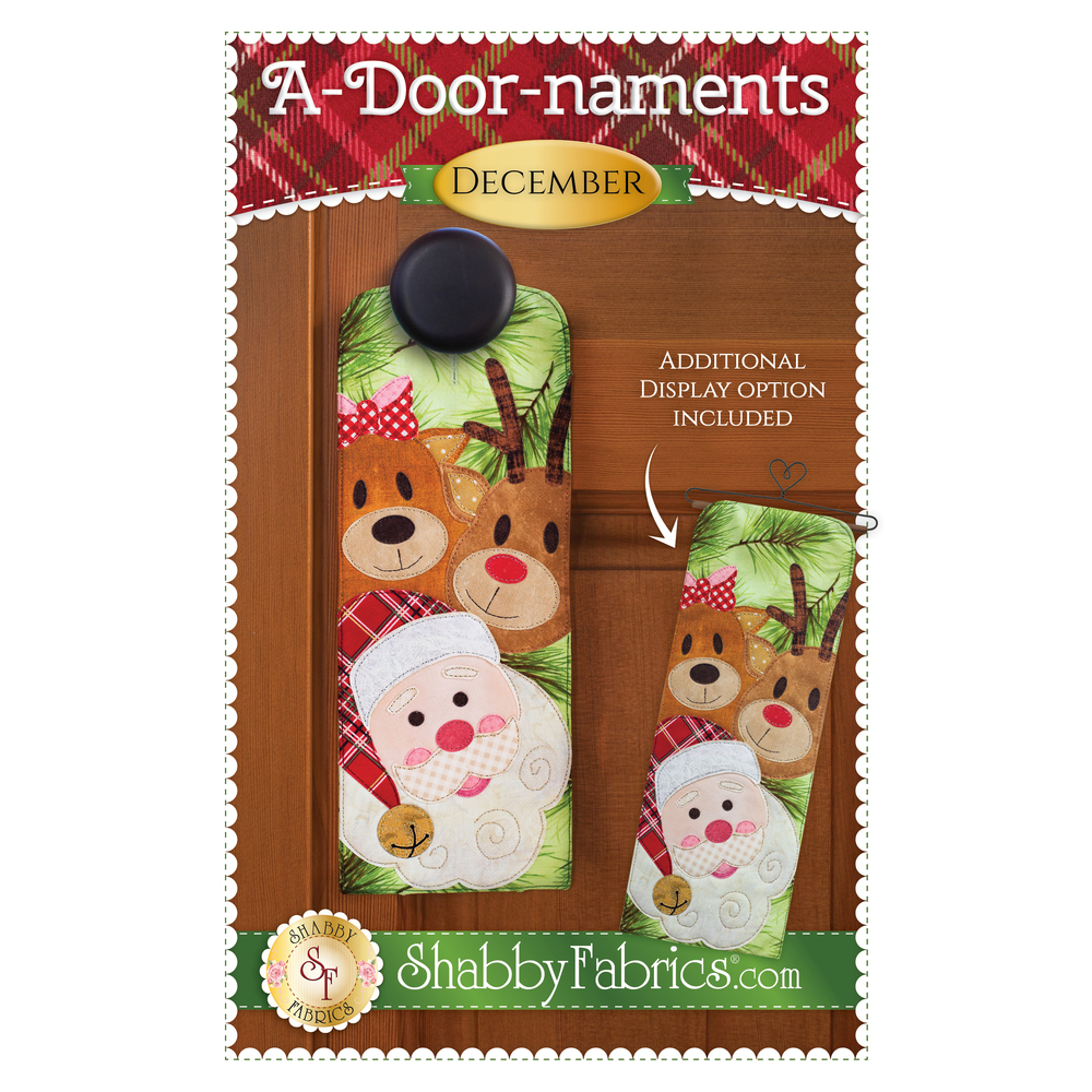Pattern for for A-door-naments December door hanger with two reindeer and Santa on green fabric.