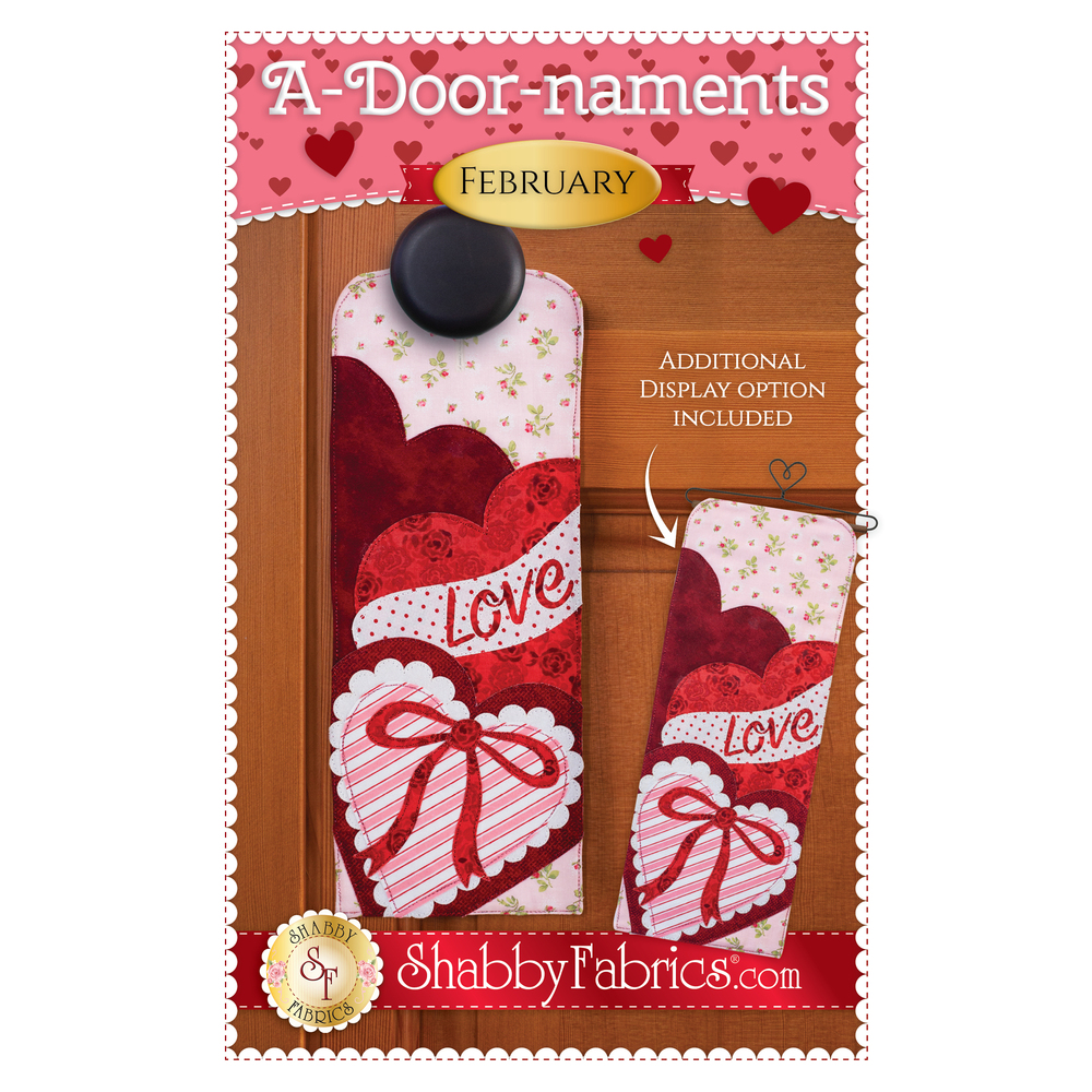 Pattern for A-door-naments February with a wrapped heart-shaped box of chocolates.
