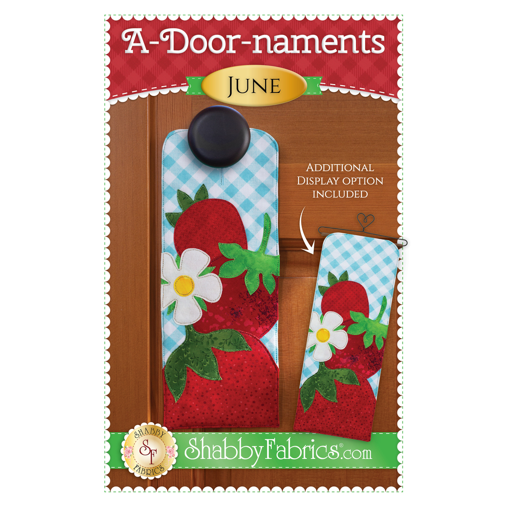Pattern for A-door-naments June with three red strawberries and strawberry blossom on blue gingham.