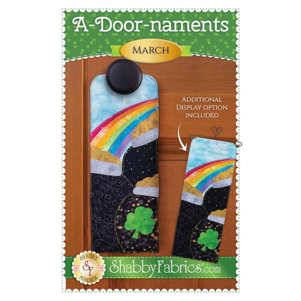 Pattern for A-door-naments March with pots of leprechaun gold under a rainbow!