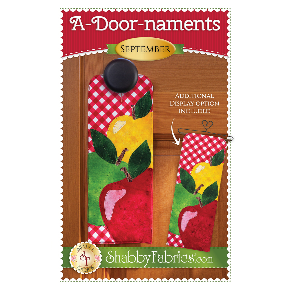 Pattern for A-door-naments September with red, green, and yellow apples on red gingham.