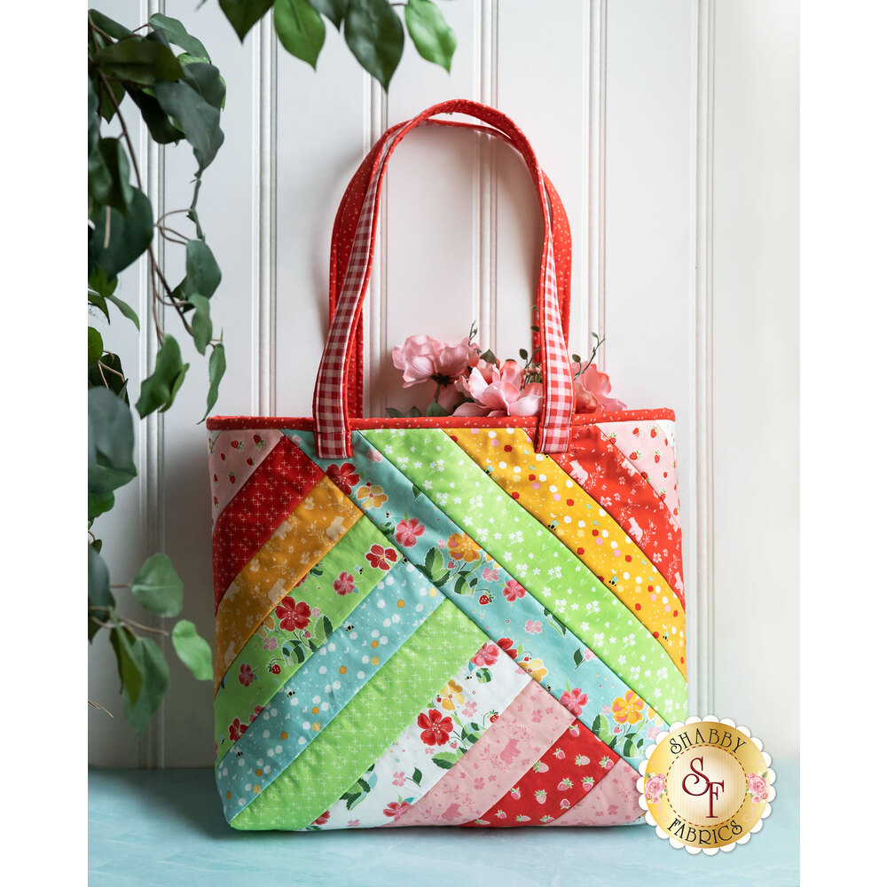 Colorful and bright Alexandra Tote made with Strawberry Honey fabrics