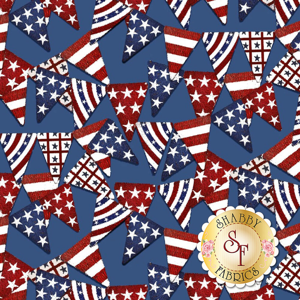 American flag banners all over blue | Shabby Fabrics