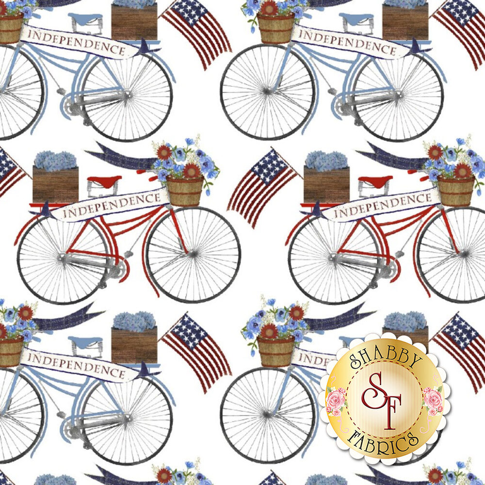 """Bicycles with banners reading """"independence"""" all over white 