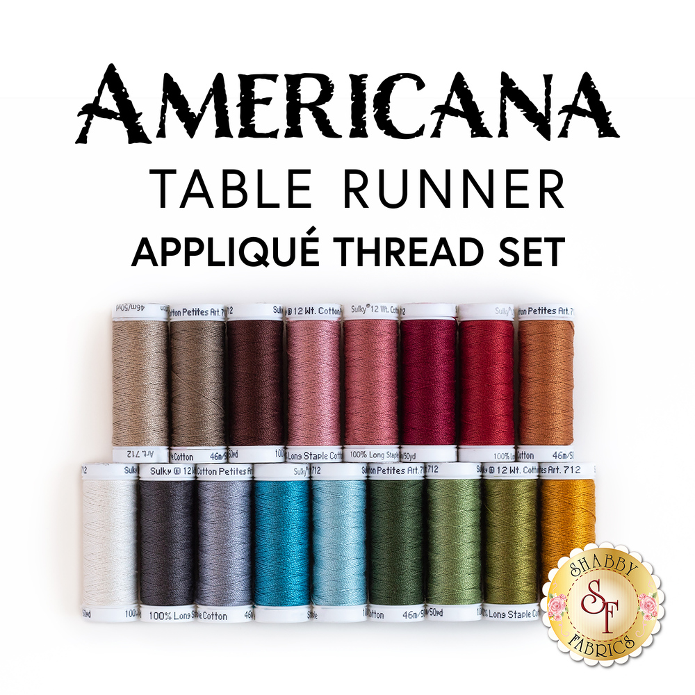 Americana Table Runner 17pc Applique Thread Set