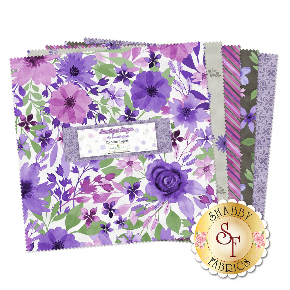 Collage of fabrics in Amethyst Magic collection | Shabby Fabrics