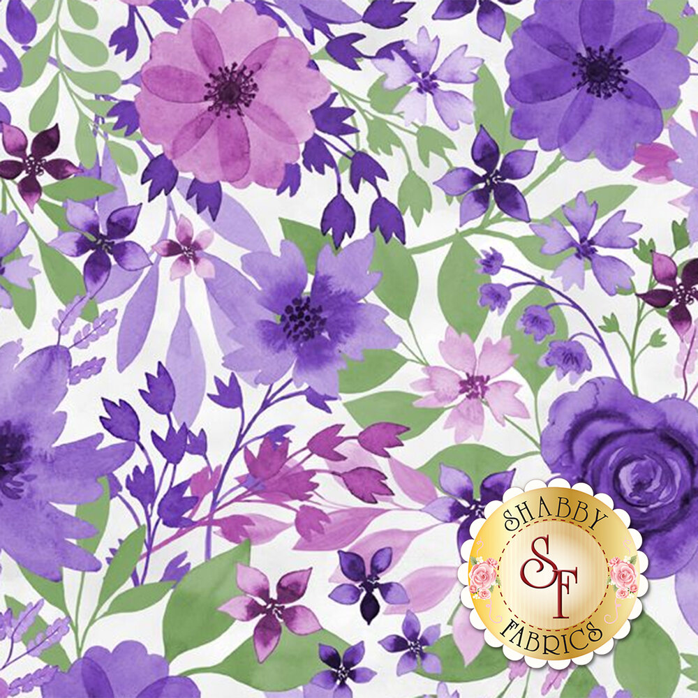 Pink and purple flowers on white | Shabby Fabrics