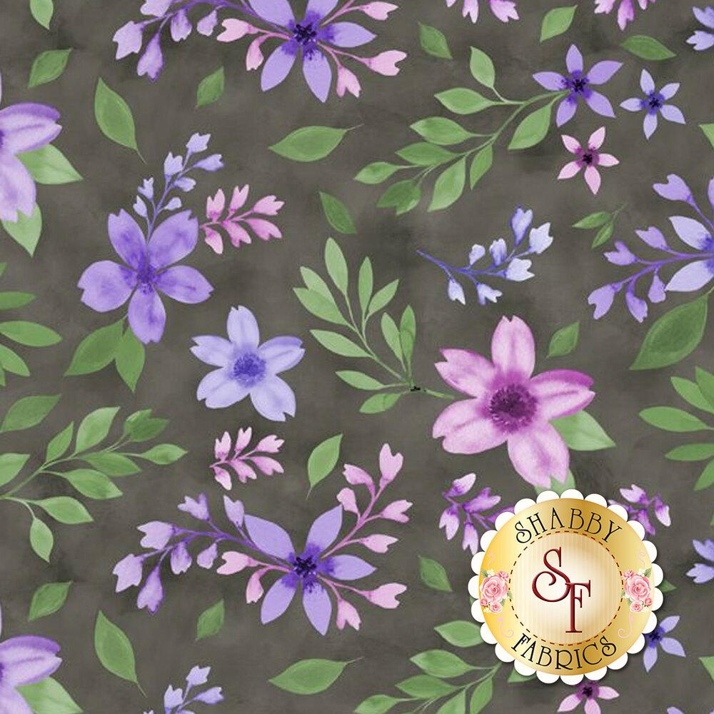 Pink and purple flowers on gray   Shabby Fabrics