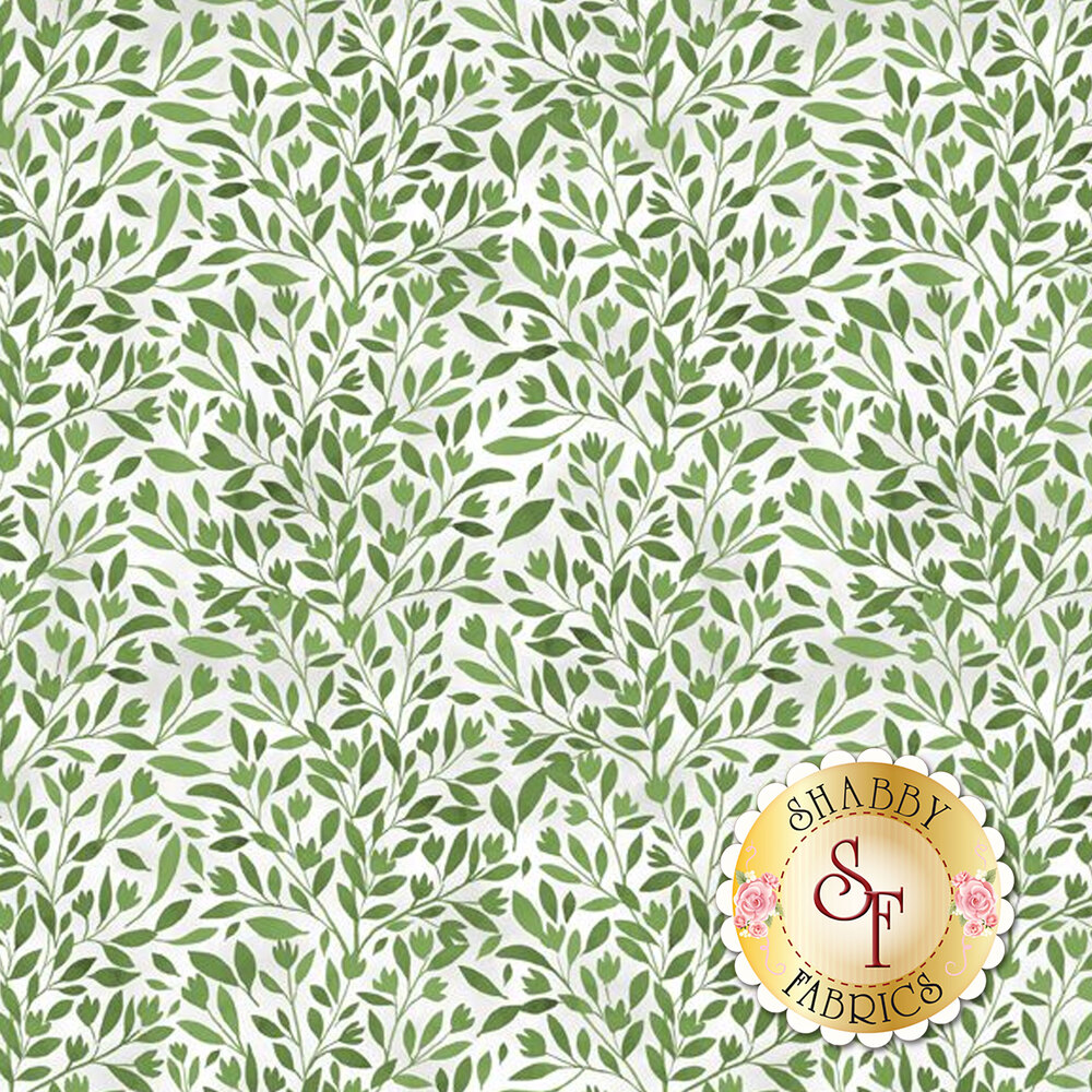 Green floral leaf design all over white | Shabby Fabrics