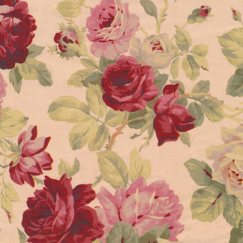 Beautiful roses and flowers on a pink background   Shabby Fabrics