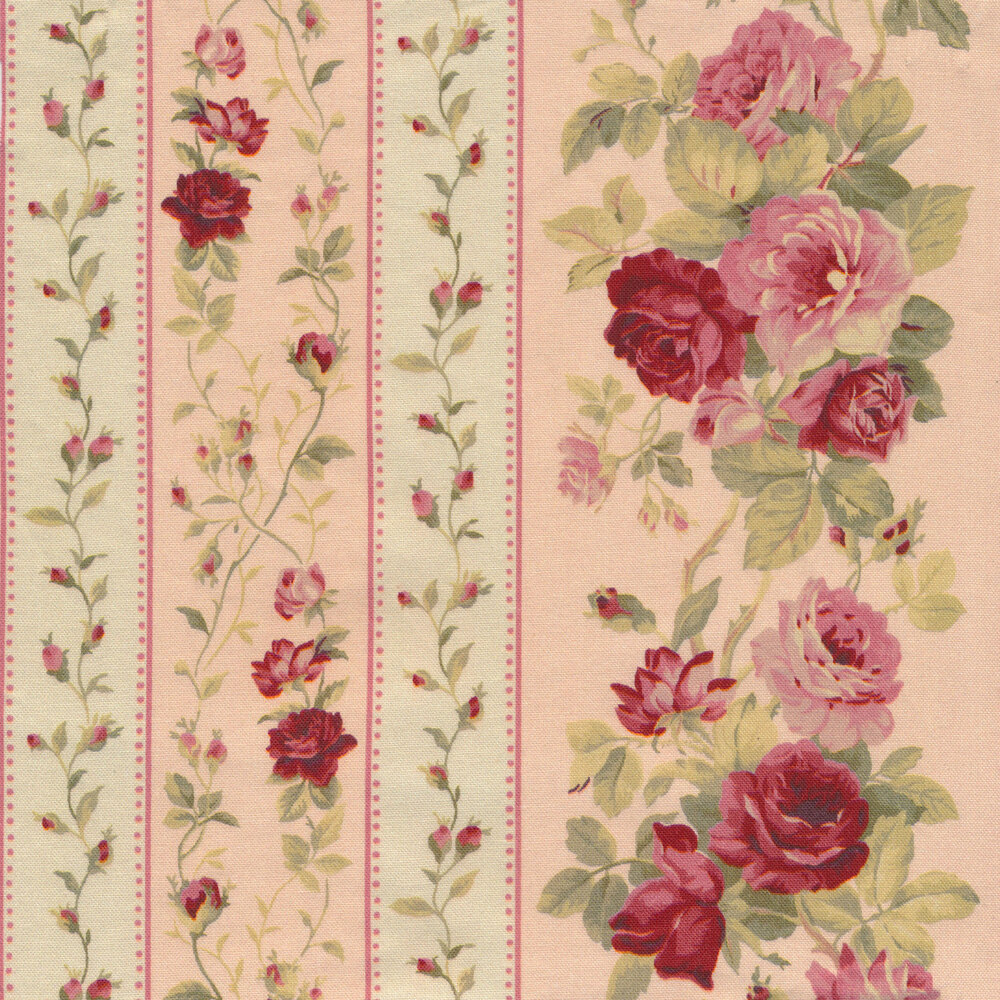 Striped roses and flowers on a white and pink alternating background | Shabby Fabrics
