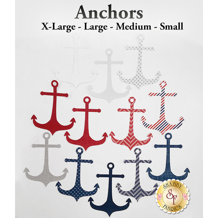 12 anchors in navy blue, red, and white, featuring a variety of patterns.