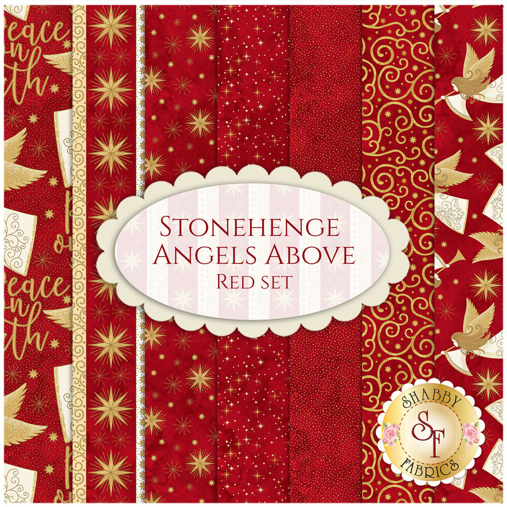 Stonehenge Angels Above 7 FQ Set Red by Henry Glass Fabrics available at Shabby Fabrics