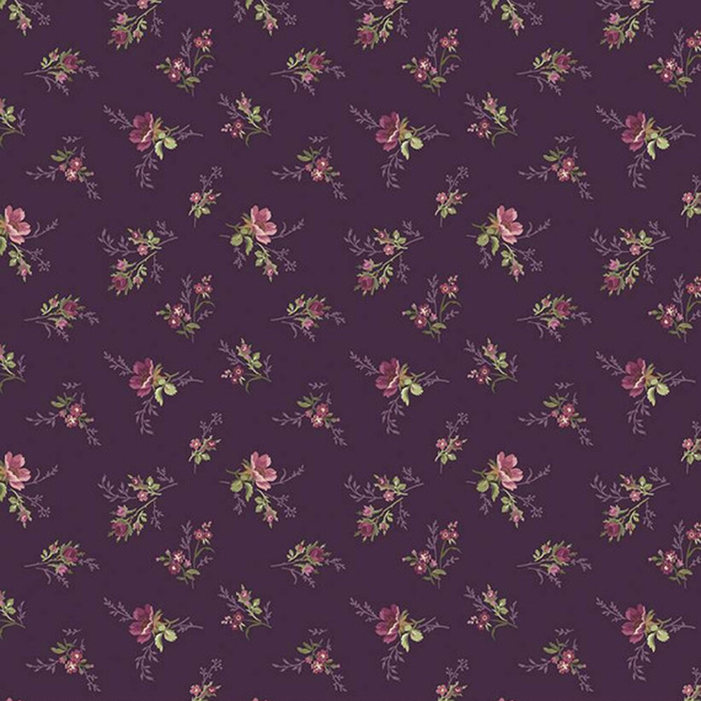 Tossed florals all over dark purple | Shabby Fabrics