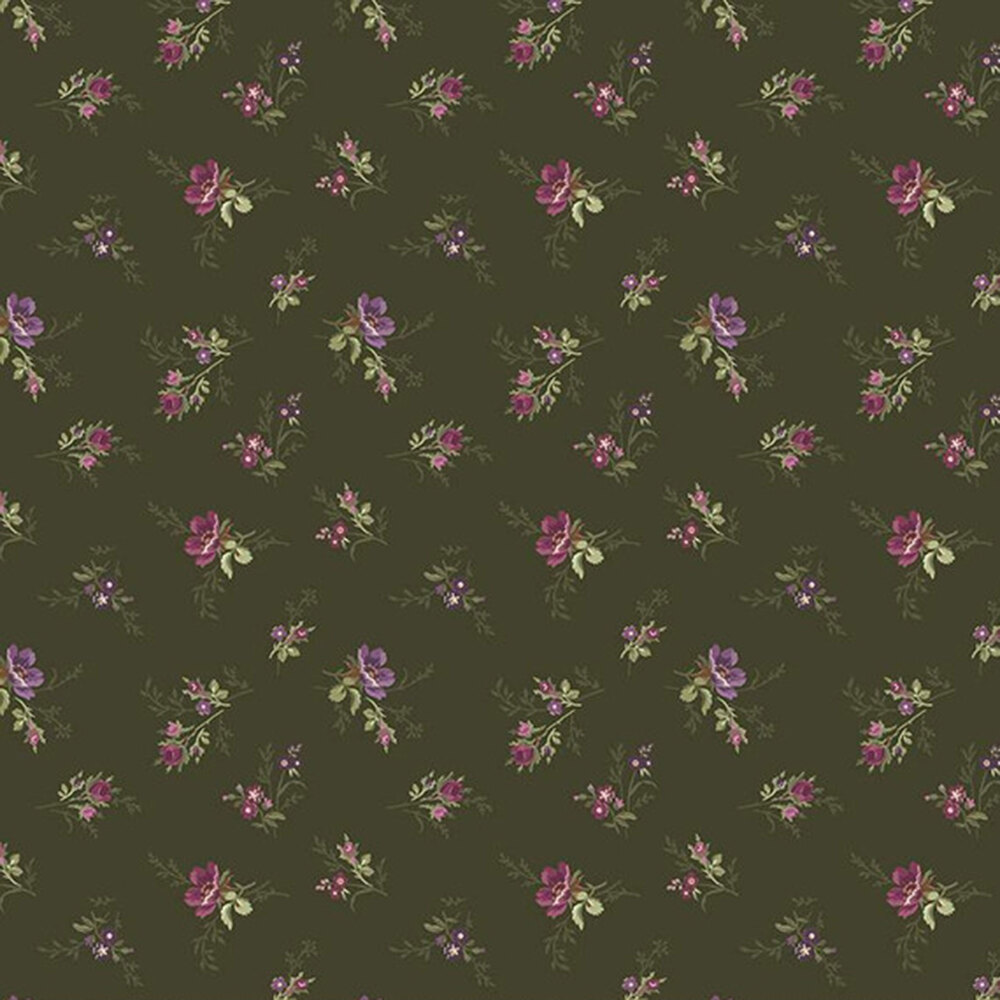 Tossed florals all over green | Shabby Fabrics