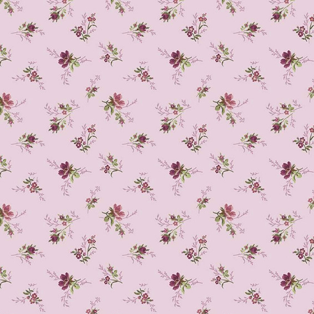 Tossed florals all over lavender | Shabby Fabrics