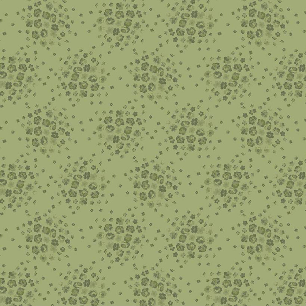Tonal green tossed floral | Shabby Fabrics