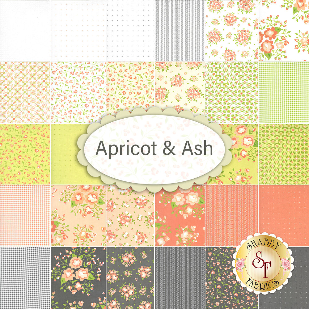 Collage of fabrics included in the Apricot & Ash collection   Shabby Fabrics
