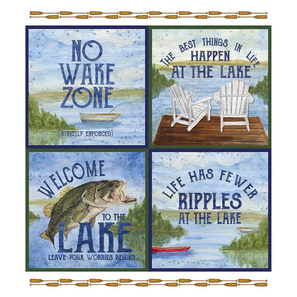 Panel featuring 4 lake posters | Shabby Fabrics