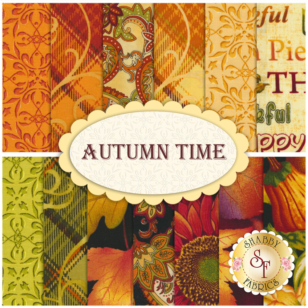 A digital collage of the 13 fabrics included in the Autumn Time FQ Set