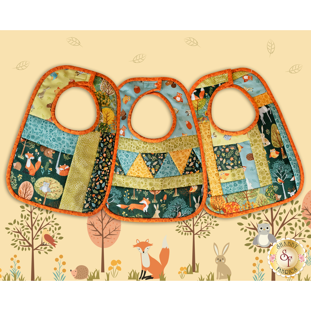 Quilt As You Go Baby Bibs - Forest