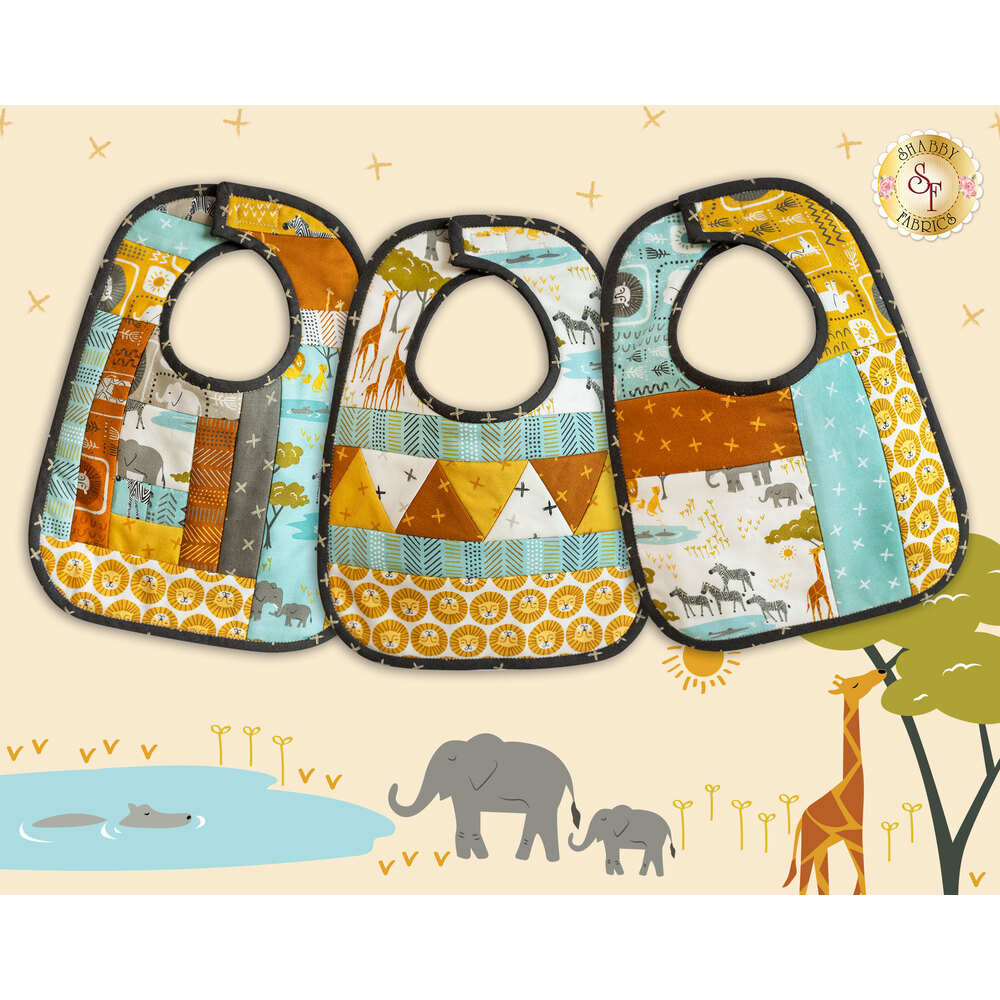 The versions of the Quilt As You Go Baby Bibs with the Safari Life fabrics | Shabby Fabrics