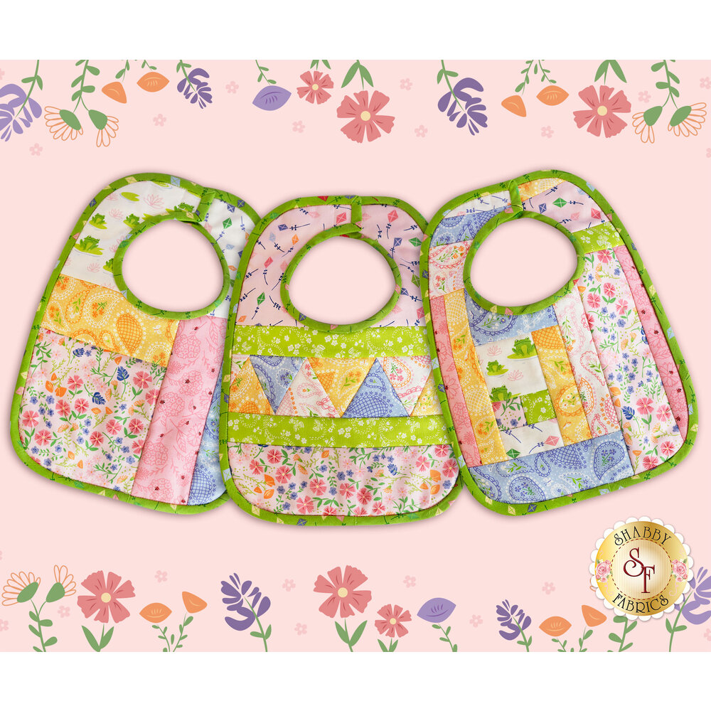 The three Baby Bibs made with Sunday Picnic fabrics | Shabby Fabrics