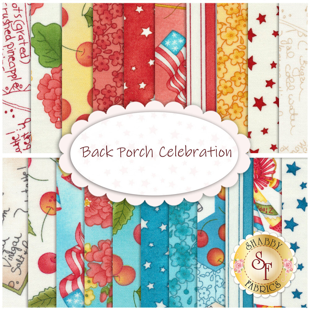 A digital collage of the 21 fabrics included in the Back Porch Celebration 21 FQ Set