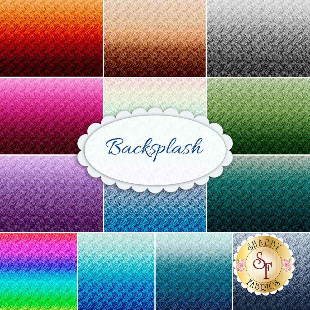 Collage of fabrics included in Backsplash collection | Shabby Fabrics