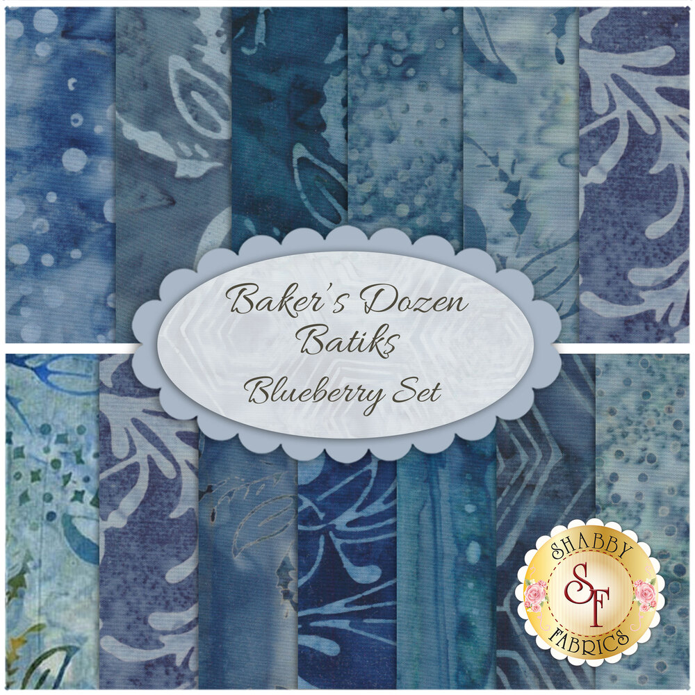 A digital collage of the 13 fabrics included in the Baker's Dozen Batiks 13 FQ Set - Blueberry