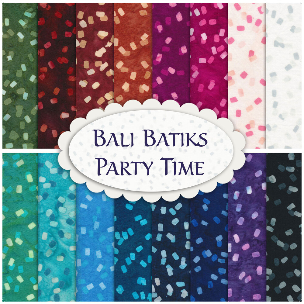 A collage of fabrics from the Bali Batiks Party Time FQ Set