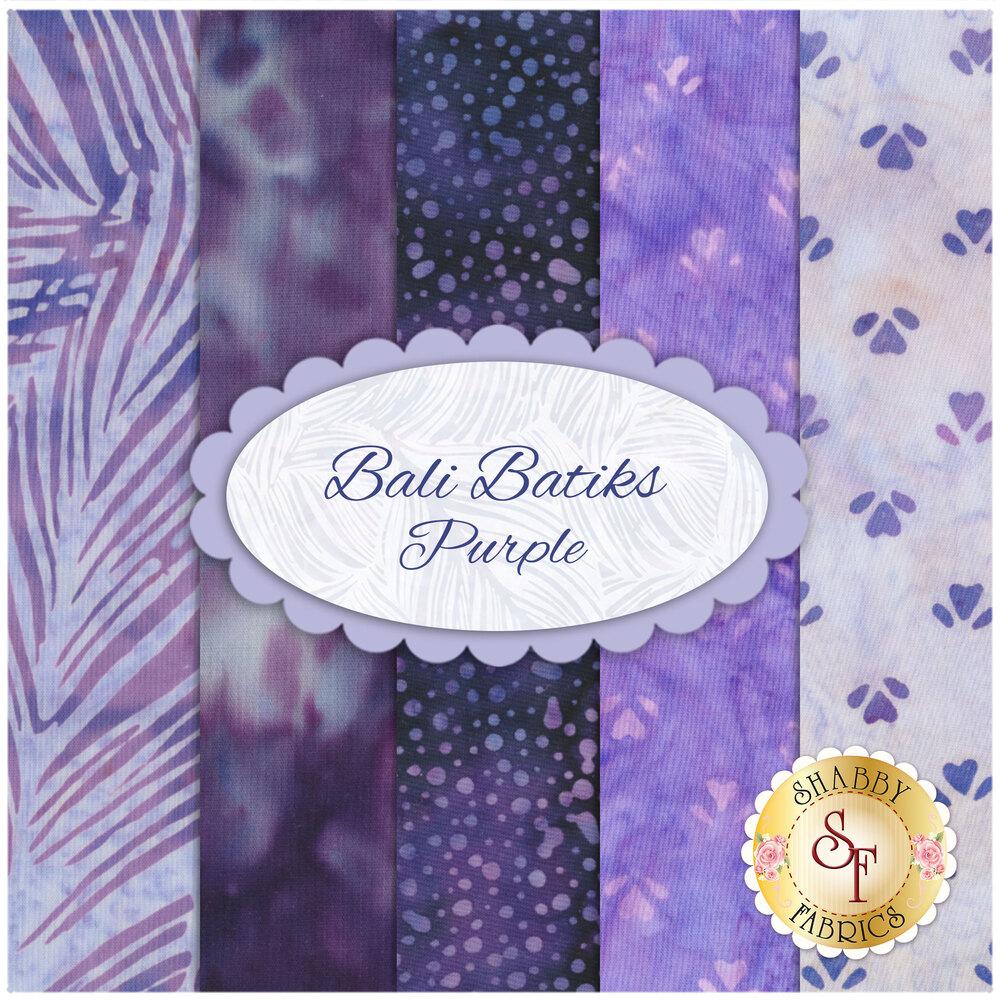 Collage of fabrics included in Bali Batiks Purple Set | Shabby Fabrics