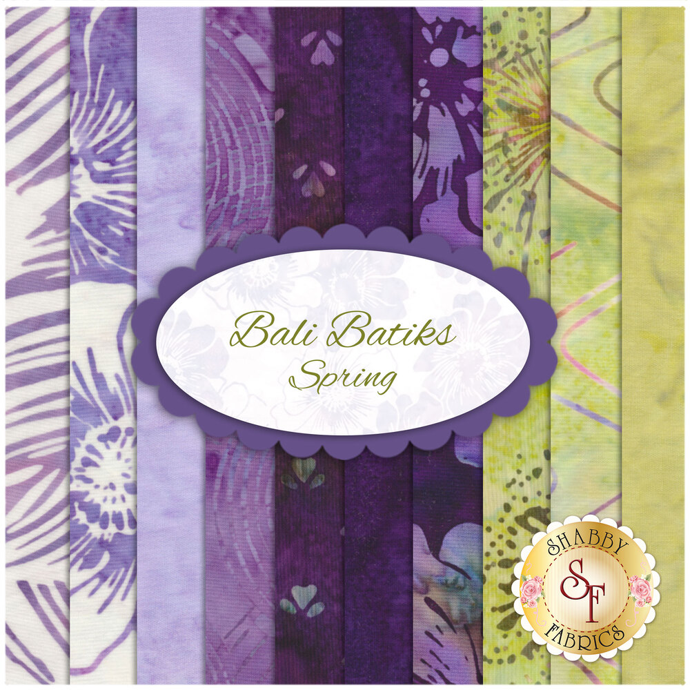 A digital collage of the 10 fabrics in the Bali Batiks - Spring FQ Set