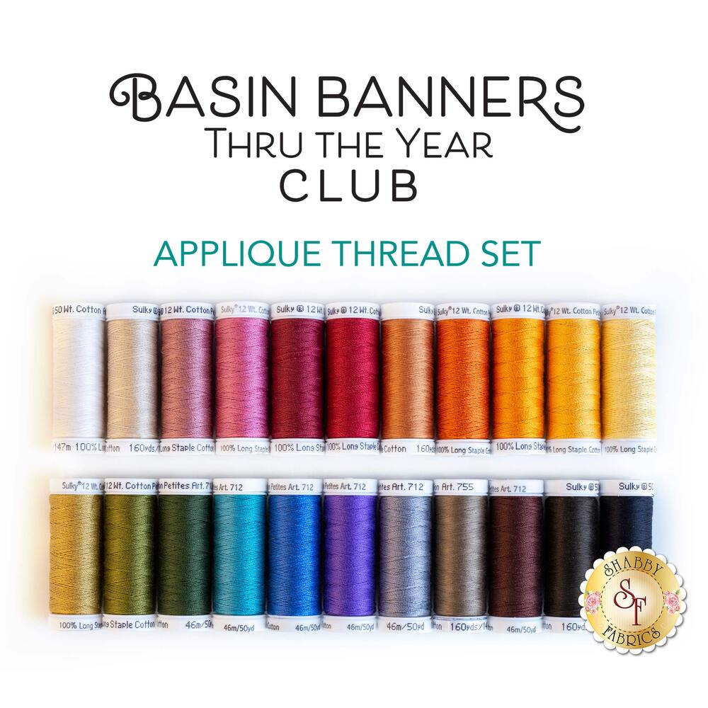 Basin Banners Thru The Year Appliqué Thread Set - 22pc  available at Shabby Fabrics