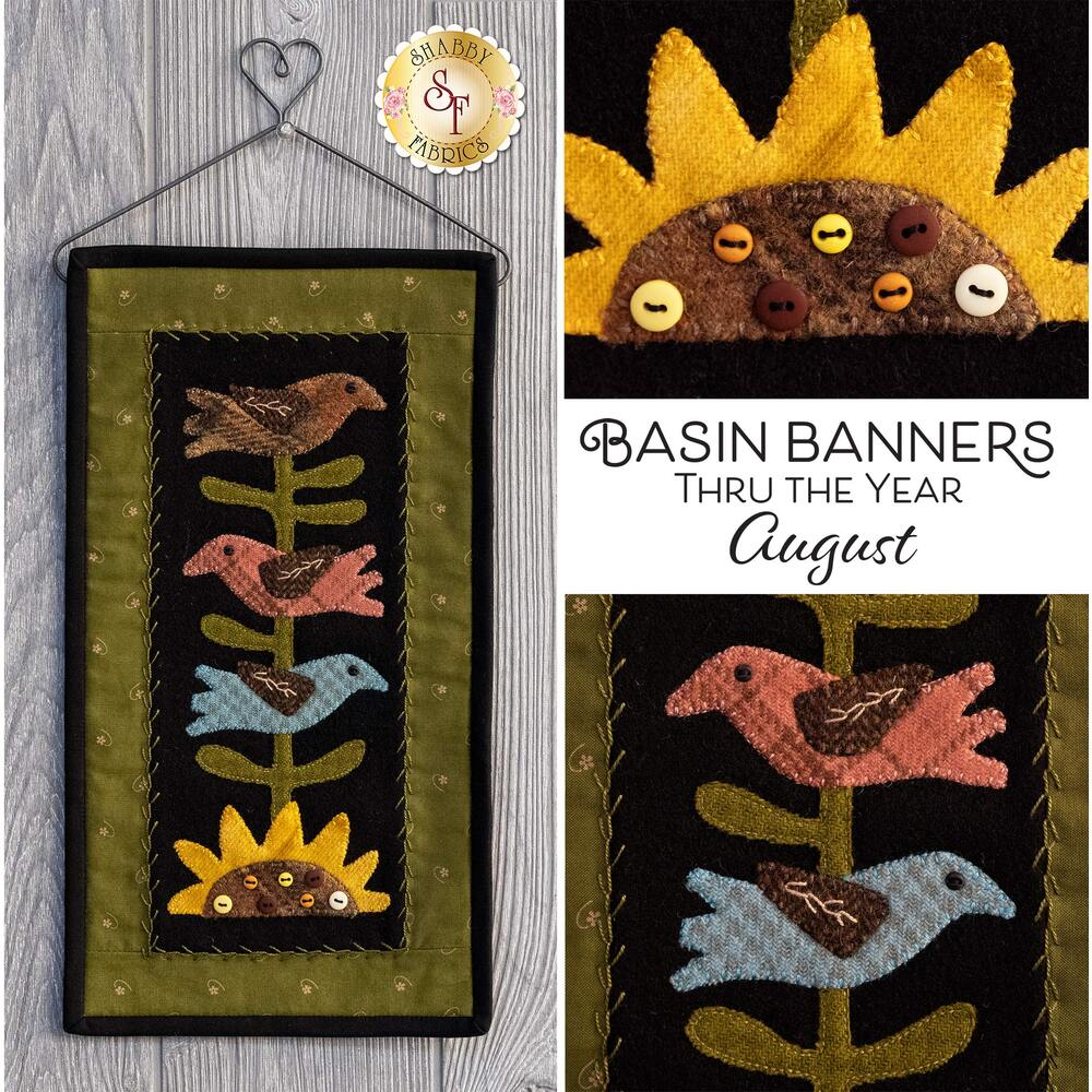 Adorable wool wall hanging with 3 birds sitting on a sunflower | Shabby Fabrics