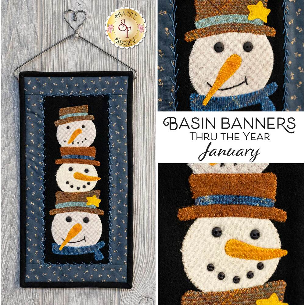 The Basin Banners Thru The Year - January wool wall hanging displayed on a wall