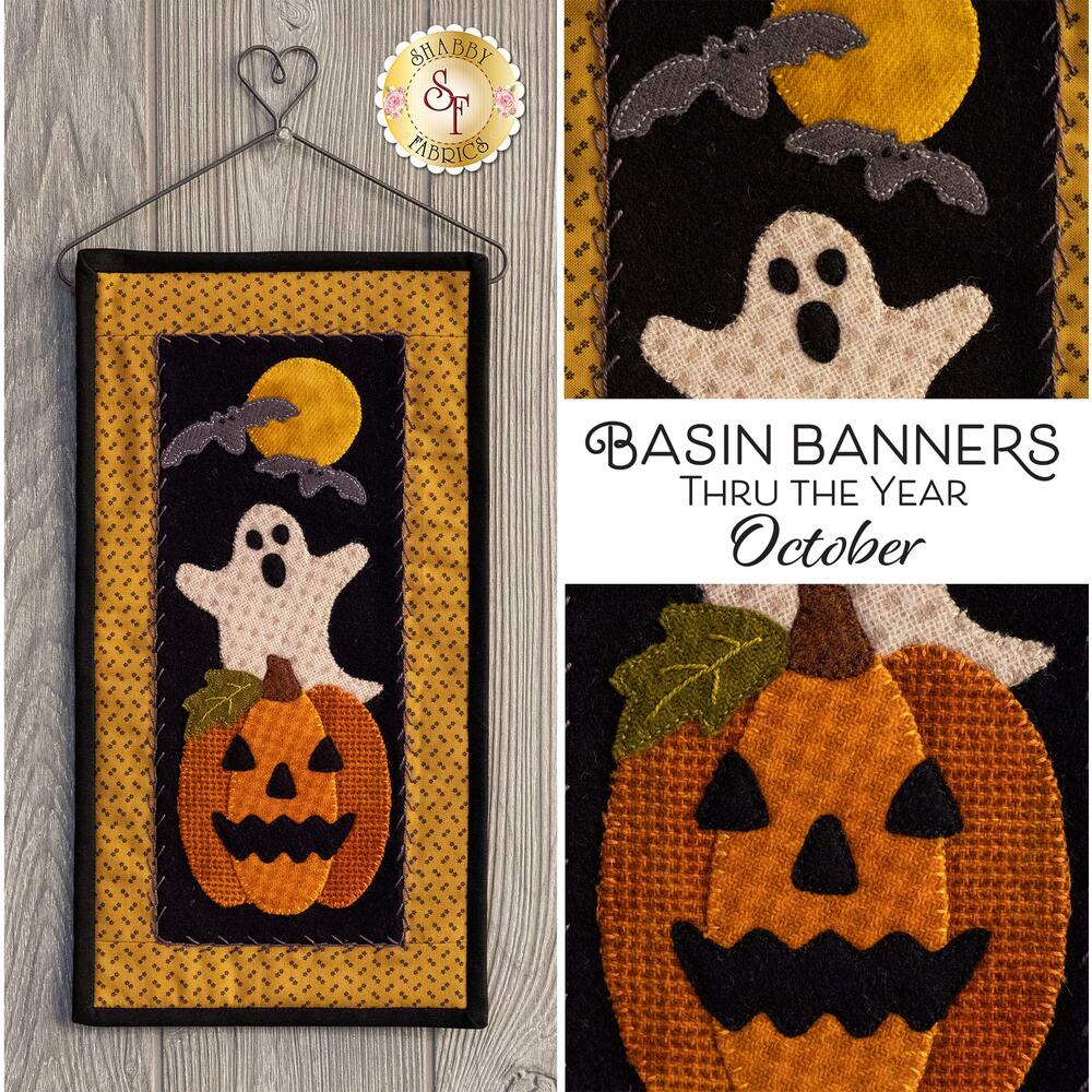 Wool wall hanging featuring a ghost, bats, and a jack-o-lantern | Shabby Fabrics