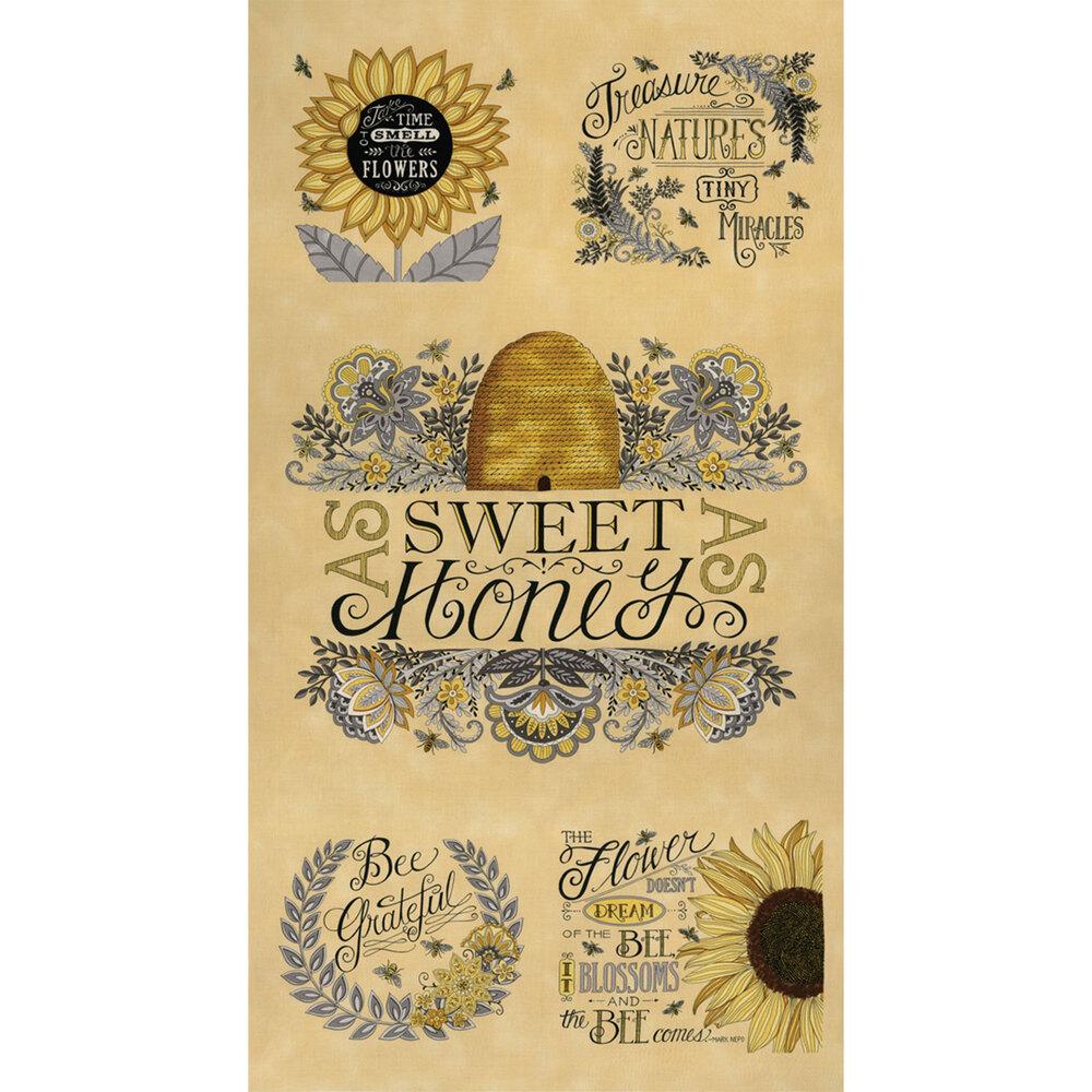 Yellow Bee Grateful panel | Shabby Fabrics