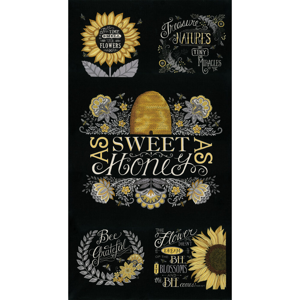 Black Bee Grateful panel | Shabby Fabrics