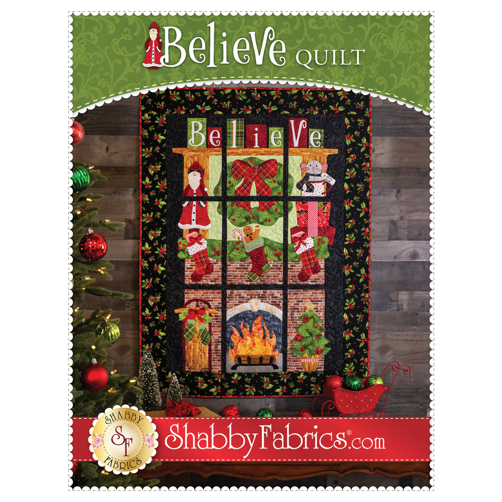 The front of the Believe Quilt pattern showing the finished quilt